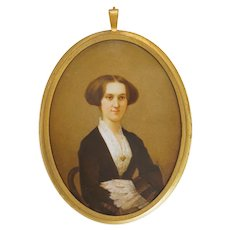 Miniature Portrait Porcelain Plaque Young Woman Painting Signed - circa 1850, France