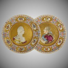 Pair Capodimonte Crowned N Cabinet Plates Louis XVI and Marie Antoinette