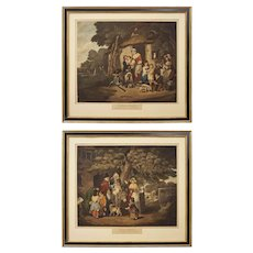 """Pair """"Saturday Evening"""" and """"Sunday Morning"""" Lithographs after Bigg English Genre Scenes"""