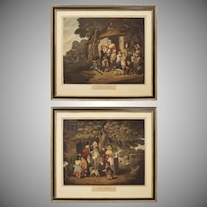 "Pair ""Saturday Evening"" and ""Sunday Morning"" Lithographs after Bigg English Genre Scenes"