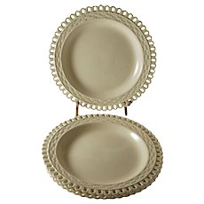 Set 4 Queen's Ware Creamware Twig Basketweave Border Pottery Plate English - c. 1800's, England