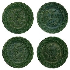 Set Four Antique English Majolica Green Leaf Plate Basketweave Border - 19th Century, England