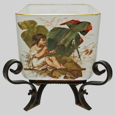 Napoleon III French Opaline Jardiniere Cachepot Centerpiece Flower Pot Planter Bronze Mount Painted Child Parrot Floral Antique - 1869 France