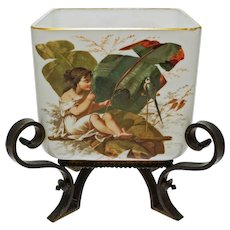 Napoleon III French Opaline Jardiniere Cache Pot Planter Bronze Mount Painted Child Parrot Floral Antique - 1869 France