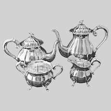 Danish Silver Plate 4 Piece Tea Set Melon Shape Pot, Cream, Sugar, Open Bowl - 20th Century, Denmark