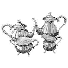 Danish Silver Plate 4 Piece Tea Set Melon Shape Pot, Cream, Sugar, Open Bowl - 20th Century, Denmark