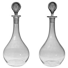 "Pair 12"" Baccarat Montaigne Decanters / Carafes with Bubble Stoppers Signed Mark Blown Glass - 20th Century, France"
