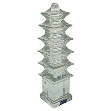 Sevres Crystal Pagoda Tower Modern Figure Sculpture Feng Shui - 20th Century, France