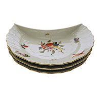 Herend Hungary Set Three Fruit and Flowers Plates Crescent Shape Porcelain - 20th Century, Hungary