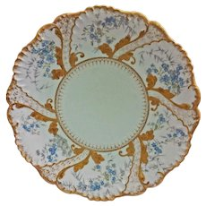 Limoges Plate Klingenberg and Dwenger Pale Green Floral Signed AKCD Red Circle Mark  - c. 1900's France