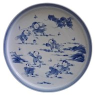 Japanese Karako 7 Boys Large Plate Signed Blue White- 20th Century, Japan
