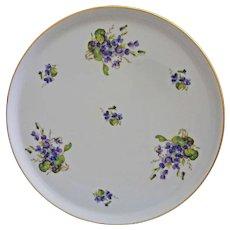 Limoges Platter Tharaud Violets Platter Charger Gilt Trim - 20th Century, France