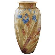 "Antique Doulton Burslem Large Floral Vase 12"" Spanish Ware - c.1886-1891, England"