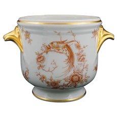 French Limoges Porcelain Planter Flower Pot Garden Gilt Exotic Birds - 20th Century, France
