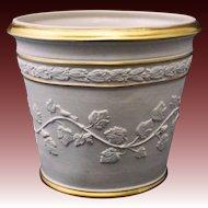 Bisque Porcelain Planter for Paul Hanson Grape Vines Birds Flower Pot Garden - 20th Century, Italy