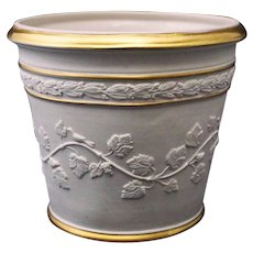 Bisque Porcelain Planter for Paul Hanson Grape Vines Birds Flower Pot Garden - 20th Century, Italy