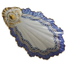 Early Porcelain Rococo Shell Shaped Side Dishes Bowl Dish Cobalt Blue, Gilt White