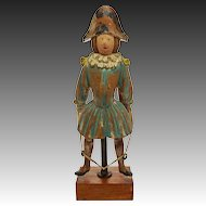 Wood Toy Soldier Boy Jumping Rope Painted Figure Folk Art Primitive Napoleonic Style Bicorne
