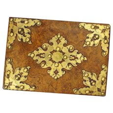 Antique Letter Blotter Burled Walnut Wood Brass Studs Stationery Antique - 19th Century