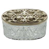 Topazio Casquinha Jewelry / Trinket Box Atlantis Crystal Silverplate - 20th Century, Portugal