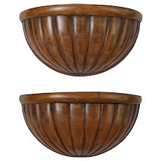 Pair Wood Wall Bracket Shelf Sconce Hanging Walnut Stain Grooved Fluted Semicircular