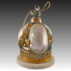 Palais Royal Bell Grand Tour Shell Mother of Pearl Brass - 19th Century France