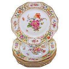 Set Six Dresden Reticulated Pierced Dessert Plates Dishes Carl Thieme Saxonian Porcelain