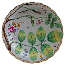 Antique Blind Earl English Cabinet Plate Green Gilt Porcelain Raised Relief Porcelain