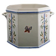 Geo Martel for Pierre Deux Planter French Faience Flower Pot Planter Jardiniere Handled - 20th Century, France