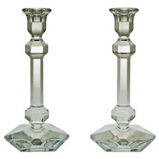 Pair VSL Crystal Candlesticks Large Crystal Modern - 20th Century, Belgium
