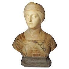 Alabaster Marble Bust Beatrice Signed Prof. G. Bessi on Pedestal - c. 1900, Italy