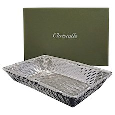 Christofle Basket Boxed Rectangular Large Silver Plate Vannerie Bread or Fruit - 20th Century, France