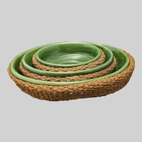 Set Three Vallauris French Faience Green Glazed Bowls in Baskets - 20th Century, France