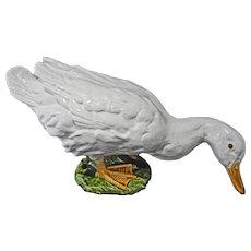 French Faience Lifesize White Goose Orange Glass Eyes Terracotta