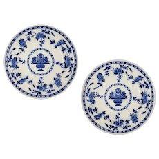 Pair Antique Minton Dinner Plates English Registry Mark Delft Pattern Blue White - Circa 1907, England
