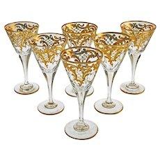Set 6 Antique Cordials Cut Stems Crystal Gilt