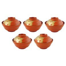 Set 5 Japanese Red Gilt Cranes Lacquer Lidded Bowls Miso Rice Suimono-Wan