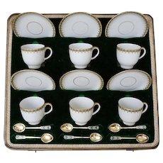 Set Six Art Deco Demitasse Expresso Cups Saucers Gilt Green Limoges W. Guerin Porcelain - 1891 to 1932, France