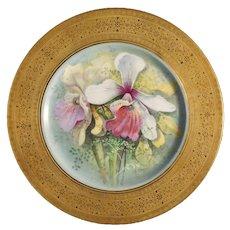 Limoges C. Ahrenfeldt Orchid Plate Signed Warrin Porcelain Gilt Greek Border - before 1914, France / USA