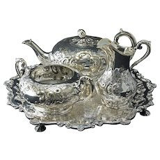 William IV Style Three Piece Silver Plate Tea Set Bachelor Pot, Cream, Sugar plus bonus Tray
