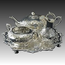 William IV Style Three Piece Silver Plate Tea Set Bachelor Pot, Cream, Sugar plus bonus Tray