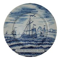 Dutch Delft Blue White Herring Fishery Dish Tin Glazed Axe Bijl Mark - circa 18th Century, Netherlands