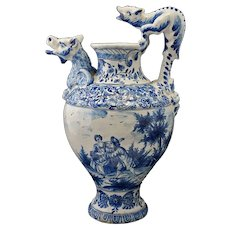 Figural Ewer Fantastic Creatures Signed B: Monogram Traditional Dutch Blue White Delftware Style Faience