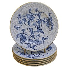 Set Six Antique Royal Worcester Plates Pattern W1986 Blue White Floral English Registration Number Pattern W1986 - 1886, England