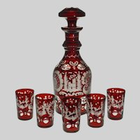 Early Bohemian Red Ruby Glass Decanter Set 5 Cordial Shots Glasses - c. 1900's, Bohemia