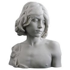 Sevres Biscuit Porcelain Bust John the Baptist as a Youth / Boy - circa 1903, France