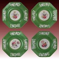 Set 4 Copeland Art Deco Porcelain Dishes Plates Apple Green Botanical Embossed White Border Hand Painted Flowers 7964 - c. 1925, England