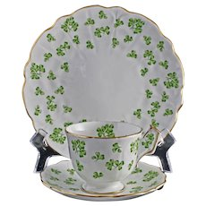 Aynsley Green Shamrocks English Porcelain Cup Saucer Plate Set Trio - circa 1960, England