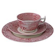Jenny Lind Royal Staffordshire Pottery England Cup Saucer Plate Set Trio Red Pink