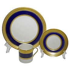 Royal Worcester 36 Piece Tea Set / Coffee (3x12) Malvern Blue Cobalt Gilt Porcelain - 1984, England